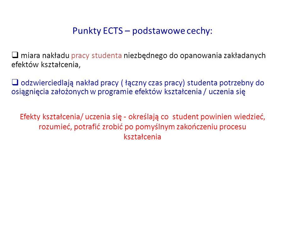 Punkty ECTS – podstawowe cechy:  miara nakładu pracy studenta niezbędnego do opanowania zakładanych efektów kształcenia,  odzwierciedlają nakład pra