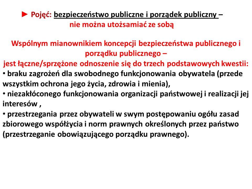 Wspólnym mianownikiem koncepcji bezpieczeństwa publicznego i porządku publicznego – jest łączne/sprzężone odnoszenie się do trzech podstawowych kwesti