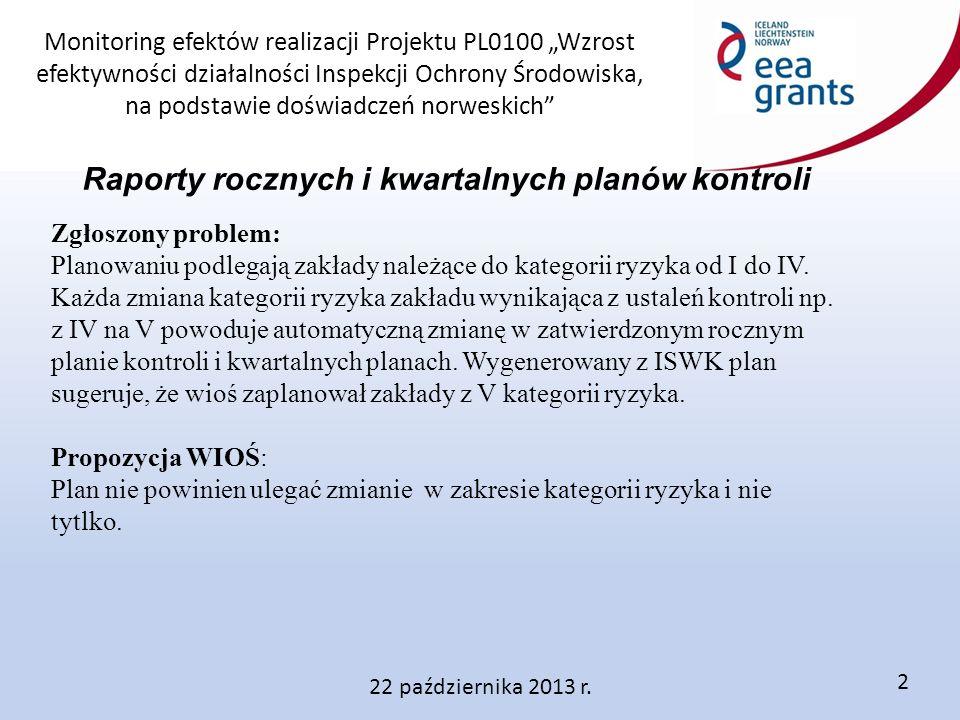 """Monitoring efektów realizacji Projektu PL0100 """"Wzrost efektywności działalności Inspekcji Ochrony Środowiska, na podstawie doświadczeń norweskich 22 października 2013 r."""