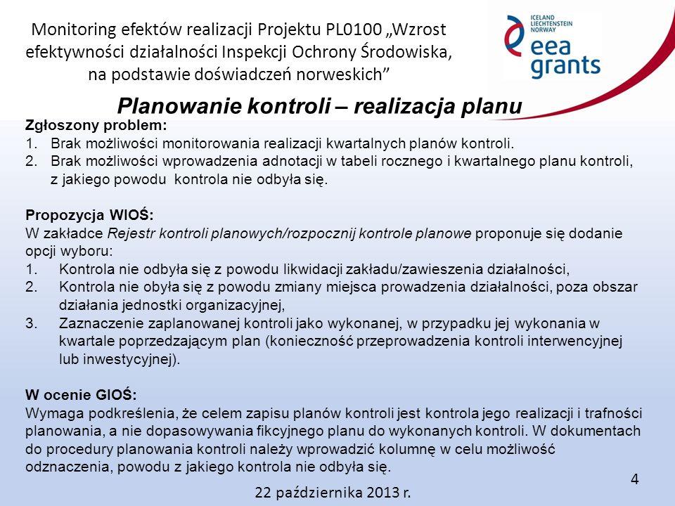 """Monitoring efektów realizacji Projektu PL0100 """"Wzrost efektywności działalności Inspekcji Ochrony Środowiska, na podstawie doświadczeń norweskich Anna Dębowiec – lider działania 3 22 października 2013 r.5"""