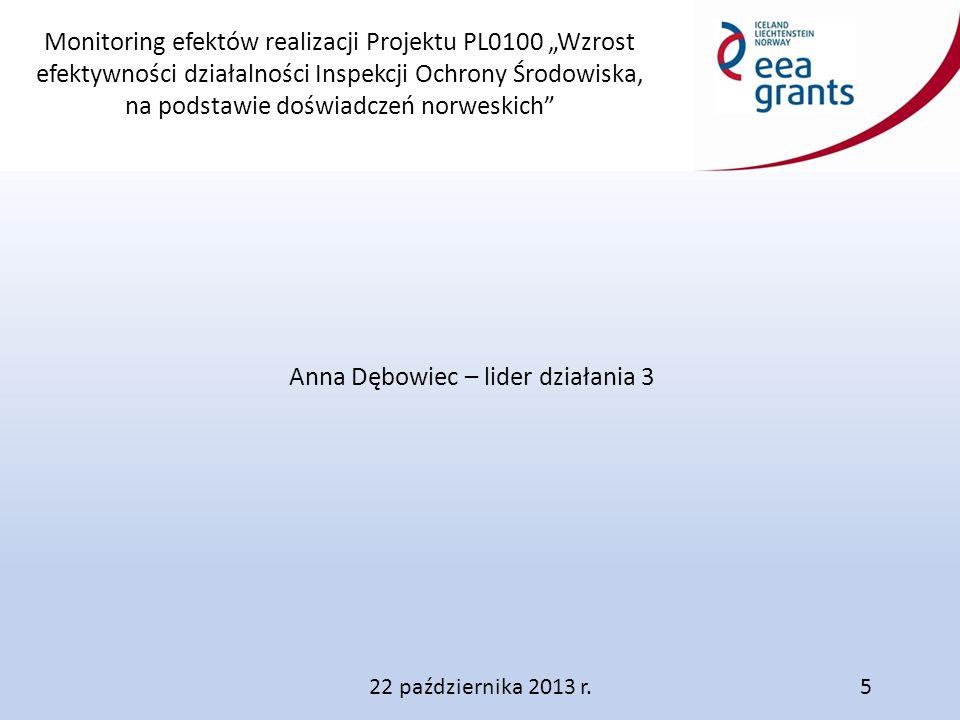 """Monitoring efektów realizacji Projektu PL0100 """"Wzrost efektywności działalności Inspekcji Ochrony Środowiska, na podstawie doświadczeń norweskich"""" Ann"""