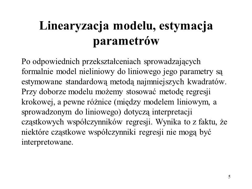 5 Linearyzacja modelu, estymacja parametrów Po odpowiednich przekształceniach sprowadzających formalnie model nieliniowy do liniowego jego parametry s