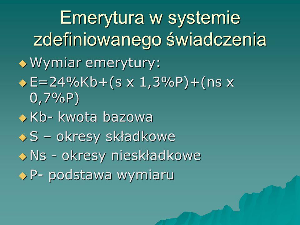 Emerytura w systemie zdefiniowanego świadczenia  Wymiar emerytury:  E=24%Kb+(s x 1,3%P)+(ns x 0,7%P)  Kb- kwota bazowa  S – okresy składkowe  Ns