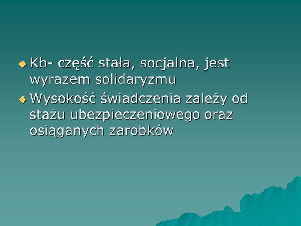  Kb- część stała, socjalna, jest wyrazem solidaryzmu  Wysokość świadczenia zależy od stażu ubezpieczeniowego oraz osiąganych zarobków