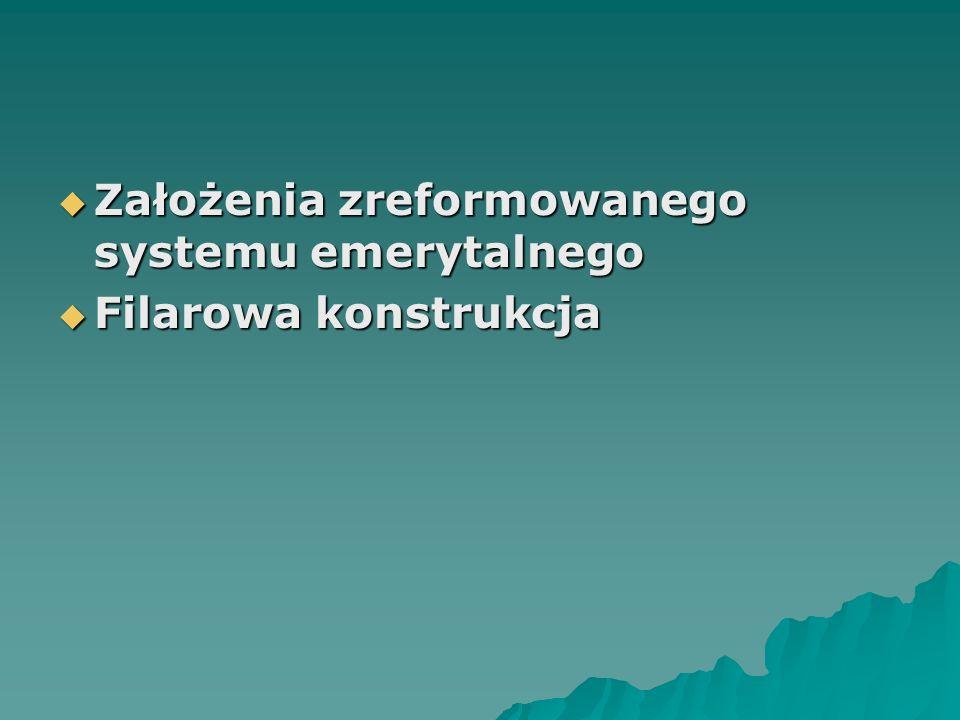  Założenia zreformowanego systemu emerytalnego  Filarowa konstrukcja