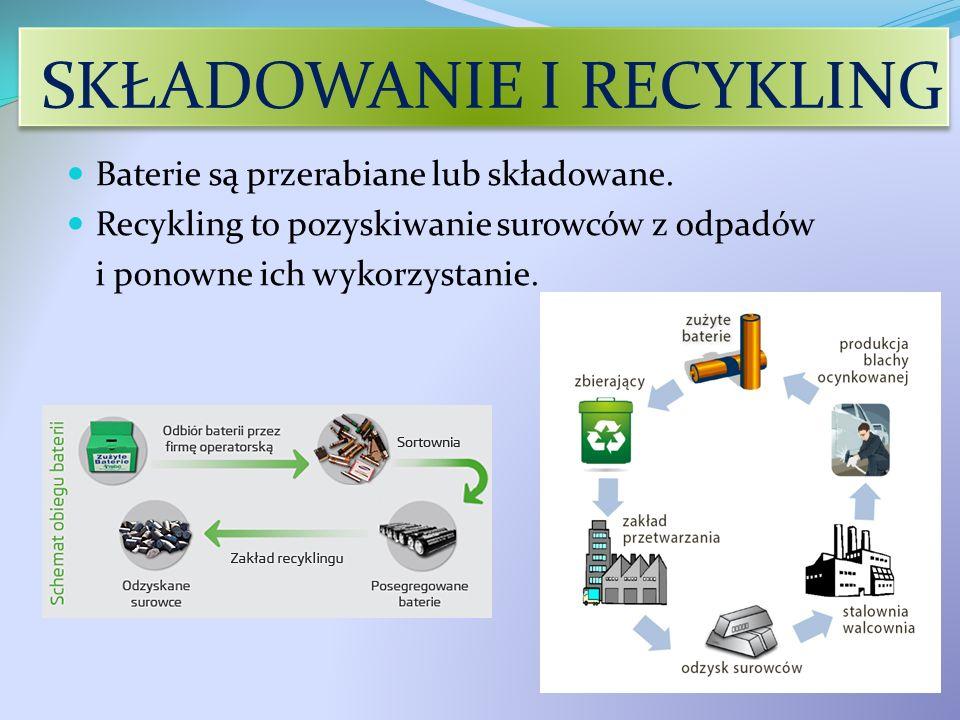 SKŁADOWANIE I RECYKLING Baterie są przerabiane lub składowane. Recykling to pozyskiwanie surowców z odpadów i ponowne ich wykorzystanie.