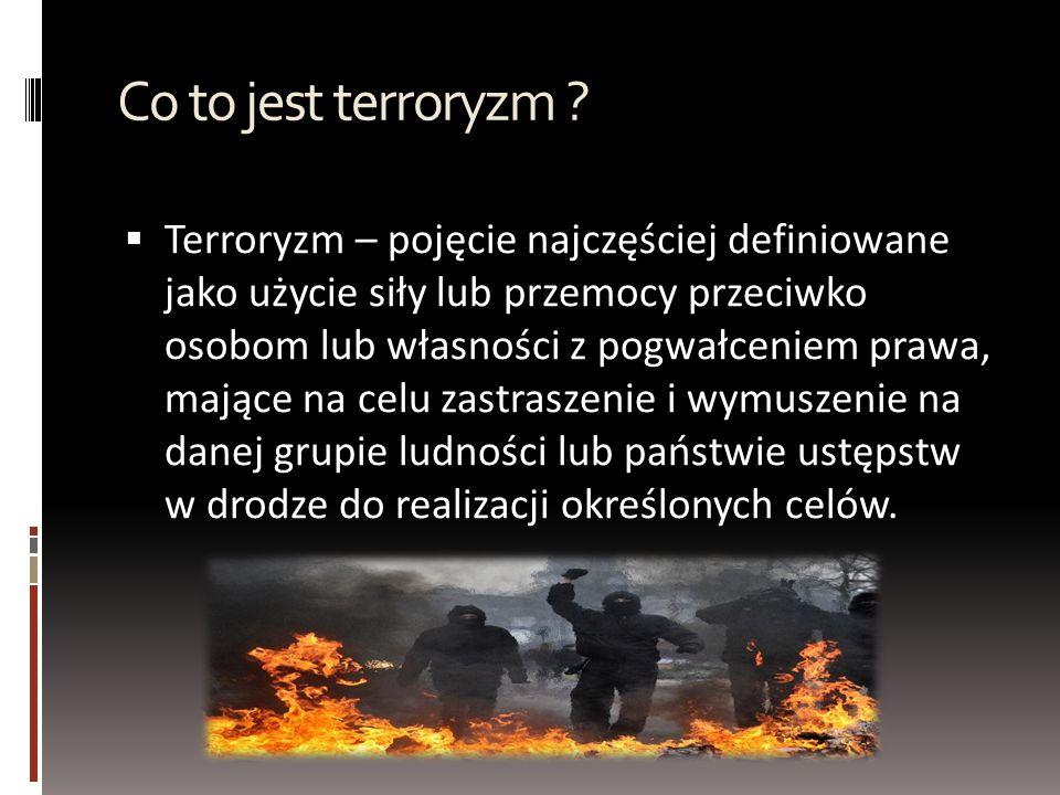 Jak można podzielić terroryzm Ze względu na pobudki kierujące terrorystami wyróżniamy :  Terroryzm polityczny  Terroryzm kryminalny Ze względu na dobór ofiary wyróżniamy :  Terroryzm indywidualny  Terroryzm zbiorowy