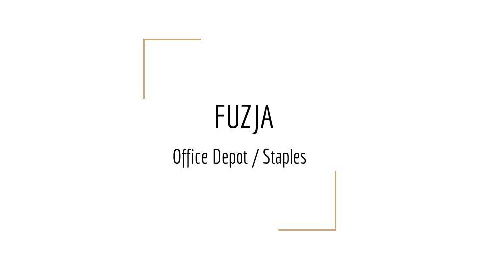 Dalsze losy Staples i Office Depot Staples - 1522 sklepów, światowa sprzedaż - $ 16,1 mld (koniec roku 2005) Office Depot - blisko 1200 sklepów z artykułami biurowymi w USA i Kanadzie, światowa sprzedaż - $ 15 mld (marzec 2007) Office Max - 935 supermarketów w USA, światowa sprzedaż - $ 13,3 mld (2004)