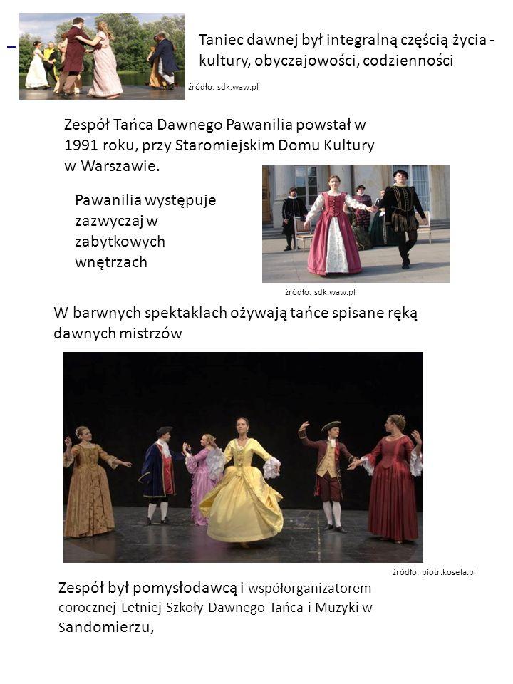 Zespół Tańca Dawnego Pawanilia powstał w 1991 roku, przy Staromiejskim Domu Kultury w Warszawie.