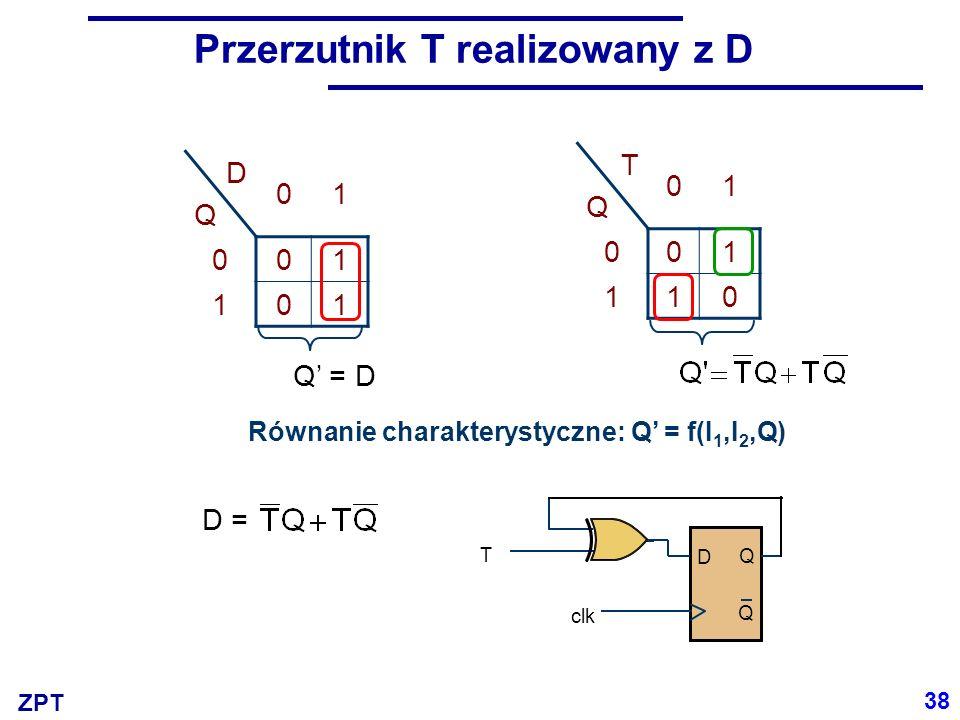 ZPT Przerzutnik T realizowany z D DQDQ 01 001 101 Q' = D TQTQ 01 001 110 Równanie charakterystyczne: Q' = f(I 1,I 2,Q) D = D Q Q T clk 38