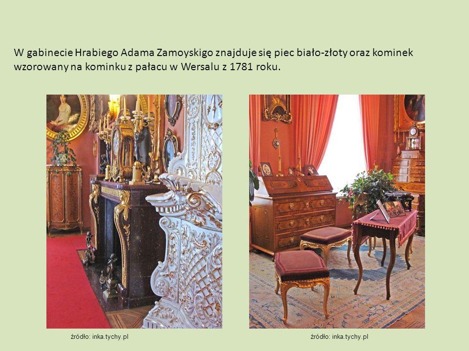 W gabinecie Hrabiego Adama Zamoyskigo znajduje się piec biało-złoty oraz kominek wzorowany na kominku z pałacu w Wersalu z 1781 roku. źródło: inka.tyc