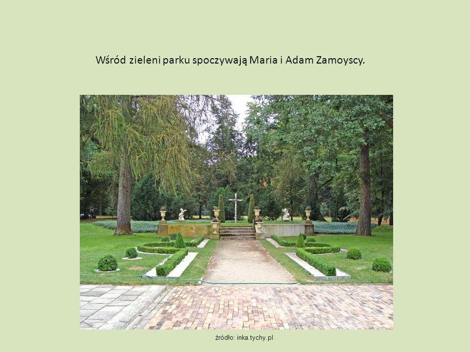Wśród zieleni parku spoczywają Maria i Adam Zamoyscy. źródło: inka.tychy.pl