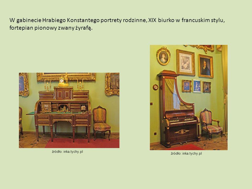 W gabinecie Hrabiego Konstantego portrety rodzinne, XIX biurko w francuskim stylu, fortepian pionowy zwany żyrafą.