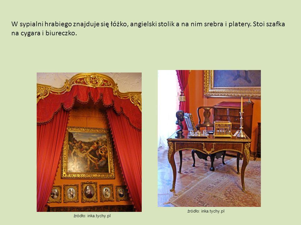 W sypialni hrabiego znajduje się łóżko, angielski stolik a na nim srebra i platery. Stoi szafka na cygara i biureczko. źródło: inka.tychy.pl