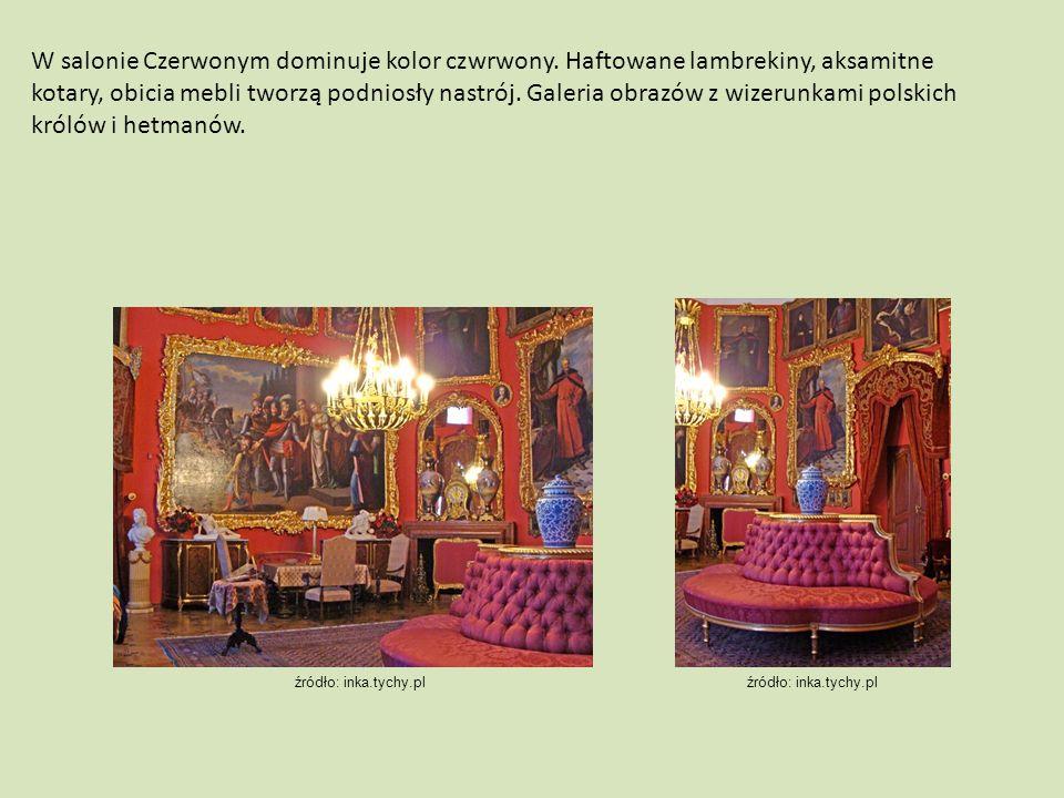W salonie Czerwonym dominuje kolor czwrwony. Haftowane lambrekiny, aksamitne kotary, obicia mebli tworzą podniosły nastrój. Galeria obrazów z wizerunk