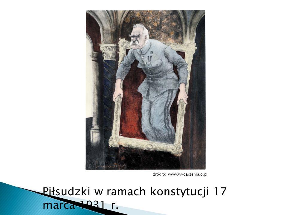 Piłsudzki w ramach konstytucji 17 marca 1931 r. źródło: www.wydarzenia.o.pl