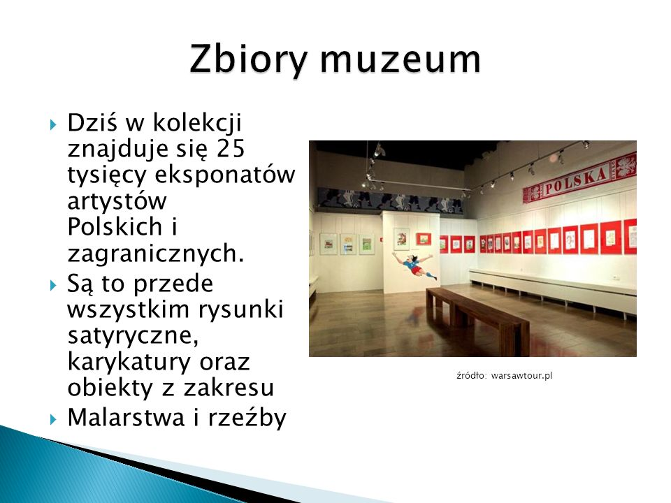  Dziś w kolekcji znajduje się 25 tysięcy eksponatów artystów Polskich i zagranicznych.