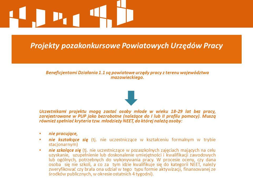 Beneficjentami Działania 1.1 są powiatowe urzędy pracy z terenu województwa mazowieckiego. Uczestnikami projektu mogą zostać osoby młode w wieku 18-29