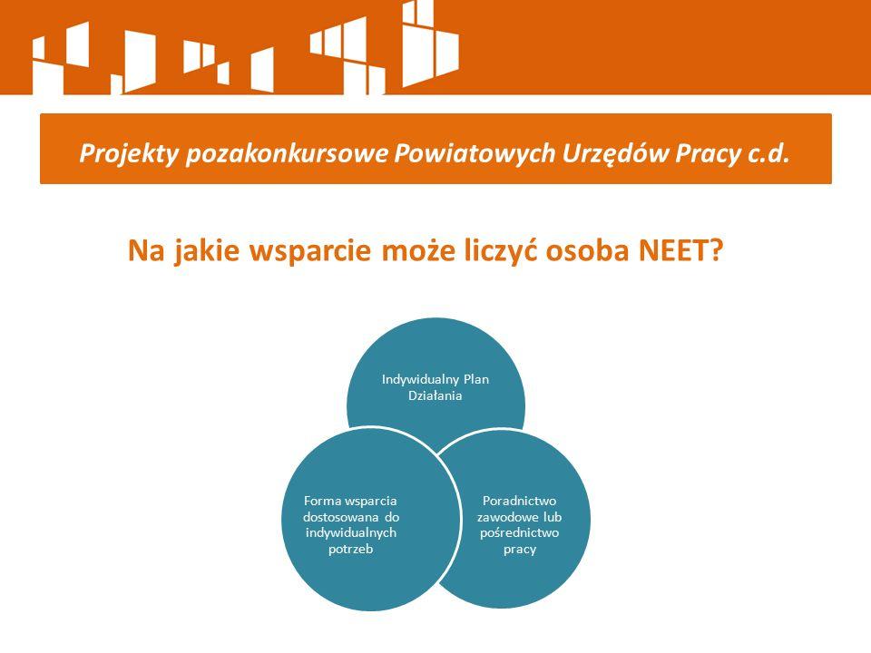 Na jakie wsparcie może liczyć osoba NEET? Projekty pozakonkursowe Powiatowych Urzędów Pracy c.d. Indywidualny Plan Działania Poradnictwo zawodowe lub
