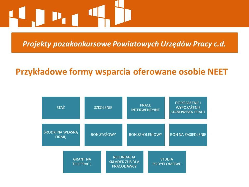 Przykładowe formy wsparcia oferowane osobie NEET Projekty pozakonkursowe Powiatowych Urzędów Pracy c.d. STAŻSZKOLENIE PRACE INTERWENCYJNE DOPOSAŻENIE