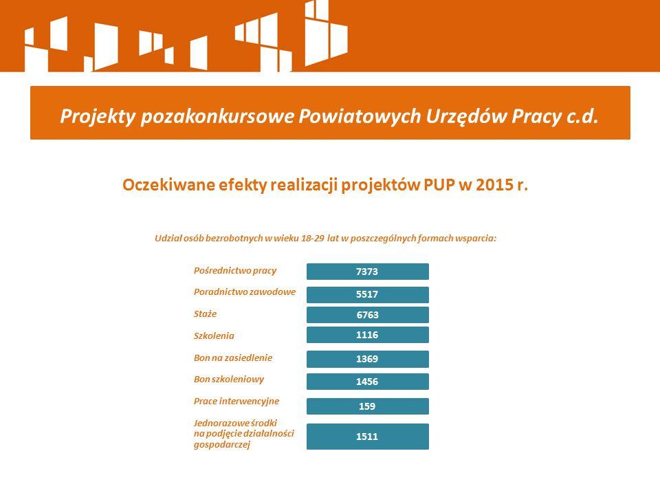 Oczekiwane efekty realizacji projektów PUP w 2015 r. Udział osób bezrobotnych w wieku 18-29 lat w poszczególnych formach wsparcia: Pośrednictwo pracy