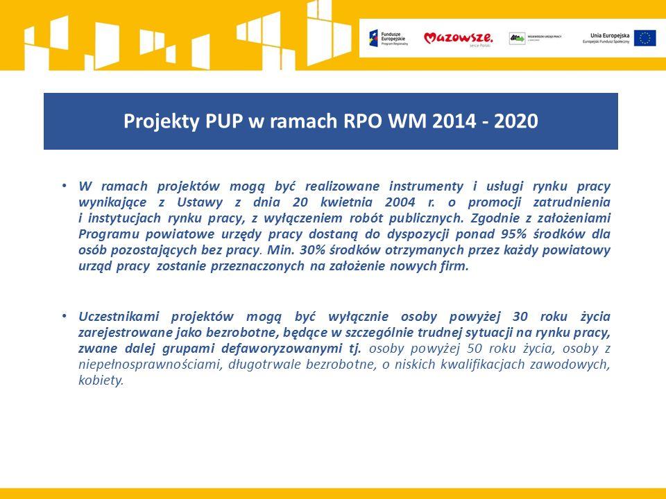 Projekty PUP w ramach RPO WM 2014 - 2020 W ramach projektów mogą być realizowane instrumenty i usługi rynku pracy wynikające z Ustawy z dnia 20 kwietn