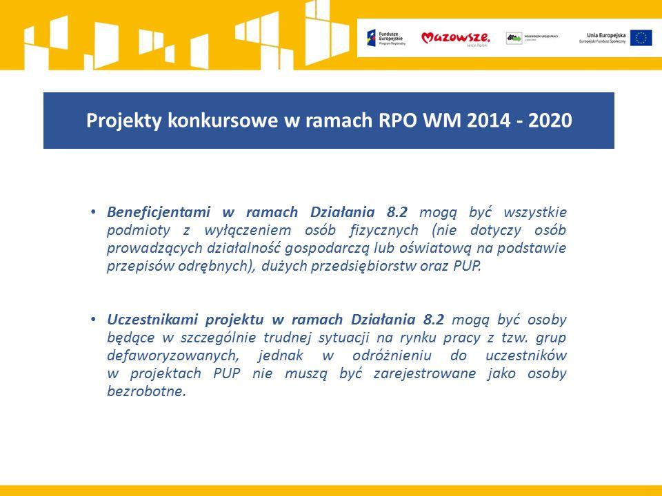 Projekty konkursowe w ramach RPO WM 2014 - 2020 Beneficjentami w ramach Działania 8.2 mogą być wszystkie podmioty z wyłączeniem osób fizycznych (nie dotyczy osób prowadzących działalność gospodarczą lub oświatową na podstawie przepisów odrębnych), dużych przedsiębiorstw oraz PUP.
