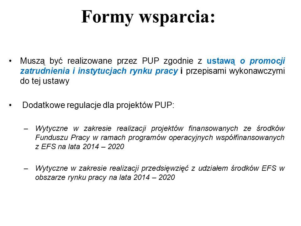 Muszą być realizowane przez PUP zgodnie z ustawą o promocji zatrudnienia i instytucjach rynku pracy i przepisami wykonawczymi do tej ustawy Dodatkowe regulacje dla projektów PUP: –Wytyczne w zakresie realizacji projektów finansowanych ze środków Funduszu Pracy w ramach programów operacyjnych współfinansowanych z EFS na lata 2014 – 2020 –Wytyczne w zakresie realizacji przedsięwzięć z udziałem środków EFS w obszarze rynku pracy na lata 2014 – 2020 Formy wsparcia: