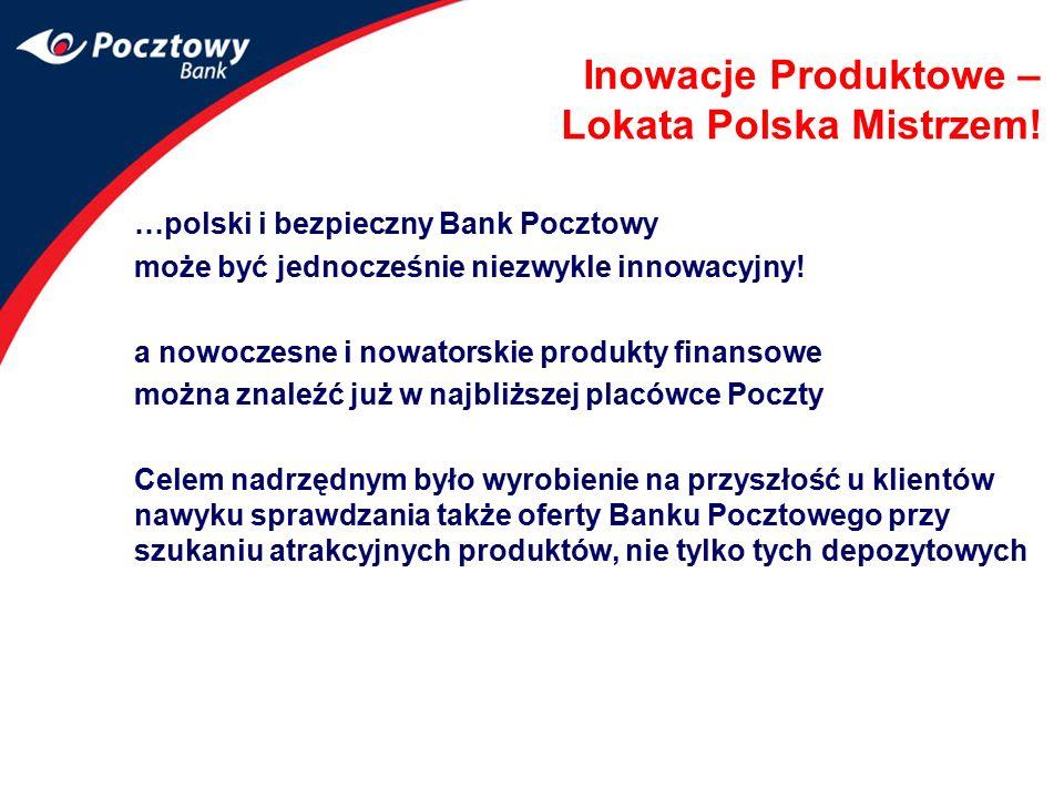 Inowacje Produktowe – Lokata Polska Mistrzem! …polski i bezpieczny Bank Pocztowy może być jednocześnie niezwykle innowacyjny! a nowoczesne i nowatorsk