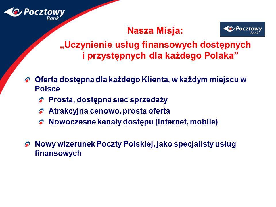 """Nasza Misja: """"Uczynienie usług finansowych dostępnych i przystępnych dla każdego Polaka"""" Oferta dostępna dla każdego Klienta, w każdym miejscu w Polsc"""