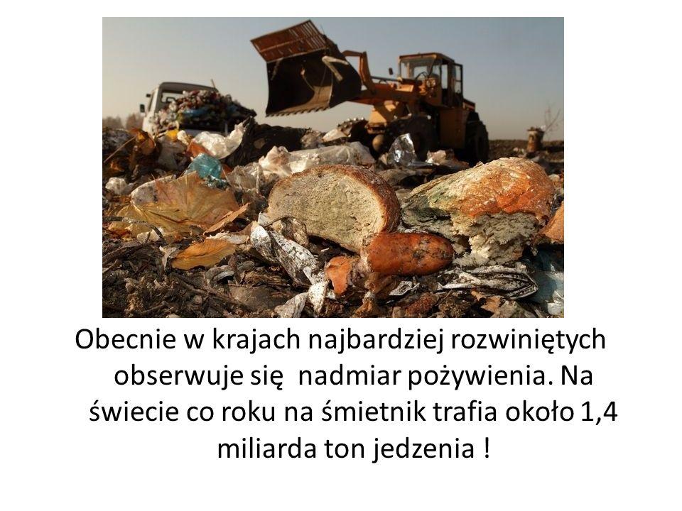 Obecnie w krajach najbardziej rozwiniętych obserwuje się nadmiar pożywienia. Na świecie co roku na śmietnik trafia około 1,4 miliarda ton jedzenia !
