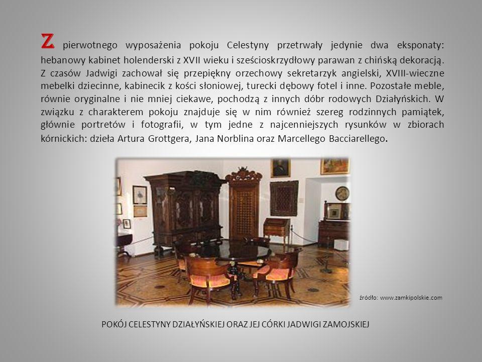 Z pierwotnego wyposażenia pokoju Celestyny przetrwały jedynie dwa eksponaty: hebanowy kabinet holenderski z XVII wieku i sześcioskrzydłowy parawan z chińską dekoracją.