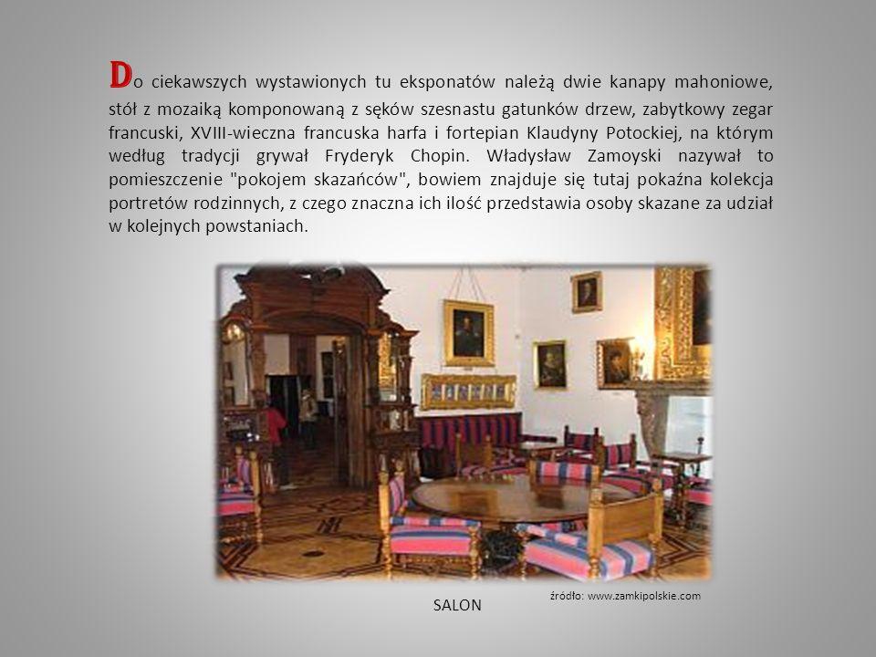 D o ciekawszych wystawionych tu eksponatów należą dwie kanapy mahoniowe, stół z mozaiką komponowaną z sęków szesnastu gatunków drzew, zabytkowy zegar francuski, XVIII-wieczna francuska harfa i fortepian Klaudyny Potockiej, na którym według tradycji grywał Fryderyk Chopin.