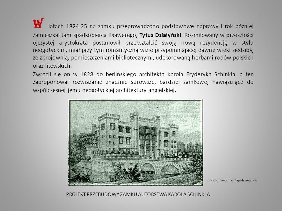 W rezultacie przebudowy, ciągnącej się do śmierci Tytusa w 1861 roku, obiekt utracił uzyskany w XVIII stuleciu charakter baroku, otrzymał zaś wygląd romantycznej budowli w stylu gotyku angielskiego z reminiscencjami architektury orientalnej.