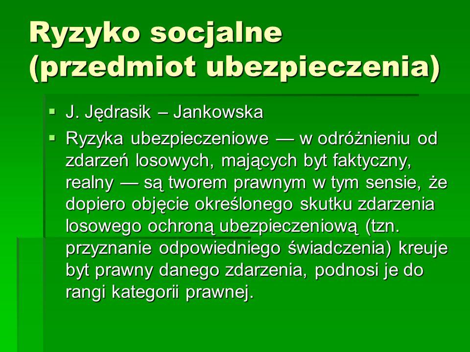 Ryzyko socjalne (przedmiot ubezpieczenia)  J. Jędrasik – Jankowska  Ryzyka ubezpieczeniowe — w odróżnieniu od zdarzeń losowych, mających byt faktycz
