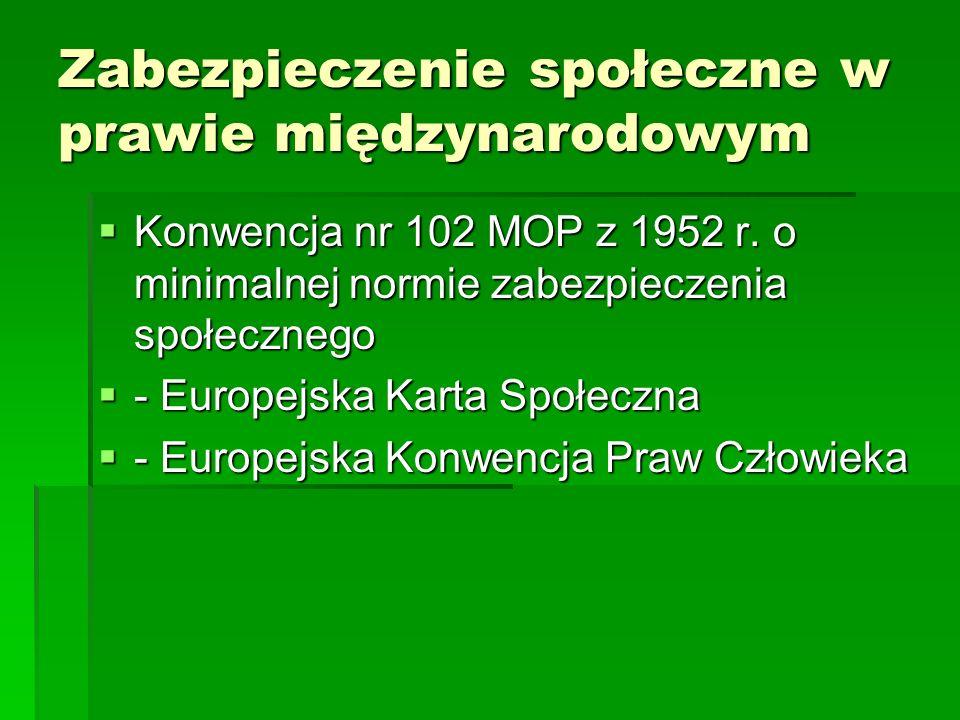 Zabezpieczenie społeczne w prawie międzynarodowym  Konwencja nr 102 MOP z 1952 r. o minimalnej normie zabezpieczenia społecznego  - Europejska Kart