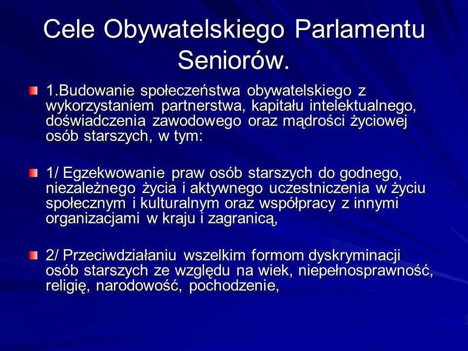 Cele Obywatelskiego Parlamentu Seniorów.