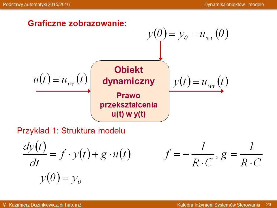 © Kazimierz Duzinkiewicz, dr hab. inż. Katedra Inżynierii Systemów Sterowania Podstawy automatyki 2015/2016 Dynamika obiektów - modele 20 Graficzne zo