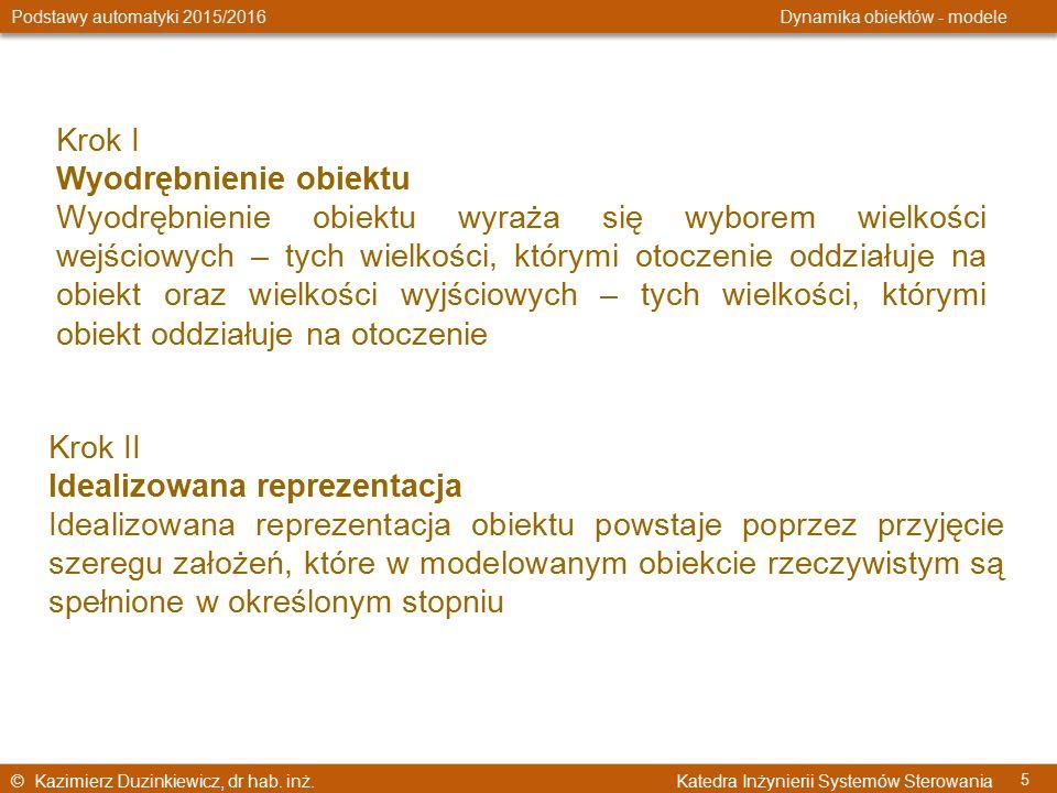 © Kazimierz Duzinkiewicz, dr hab. inż. Katedra Inżynierii Systemów Sterowania Podstawy automatyki 2015/2016 Dynamika obiektów - modele 5 Krok I Wyodrę