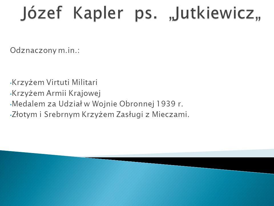 Odznaczony m.in.: Krzyżem Virtuti Militari Krzyżem Armii Krajowej Medalem za Udział w Wojnie Obronnej 1939 r.