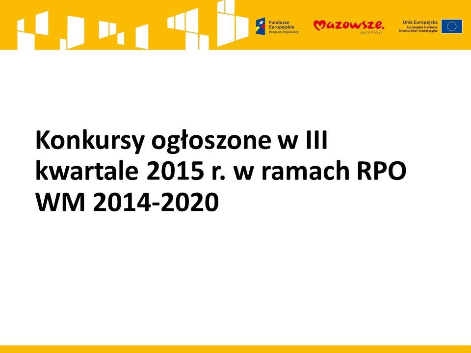 Konkursy ogłoszone w III kwartale 2015 r. w ramach RPO WM 2014-2020