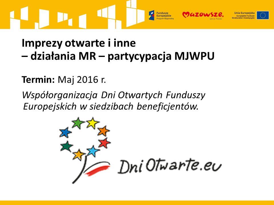 Imprezy otwarte i inne – działania MR – partycypacja MJWPU Termin: Maj 2016 r.