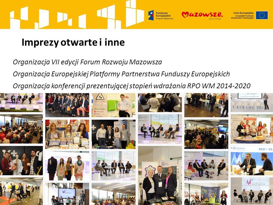Imprezy otwarte i inne Organizacja VII edycji Forum Rozwoju Mazowsza Organizacja Europejskiej Platformy Partnerstwa Funduszy Europejskich Organizacja konferencji prezentującej stopień wdrażania RPO WM 2014-2020
