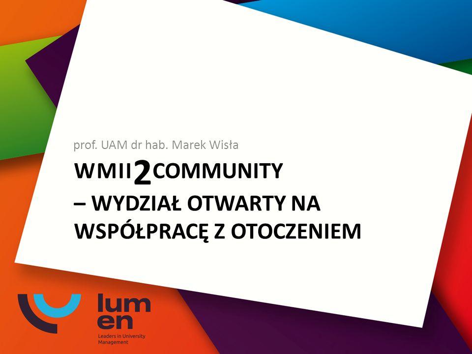 WMII 2 COMMUNITY – WYDZIAŁ OTWARTY NA WSPÓŁPRACĘ Z OTOCZENIEM prof. UAM dr hab. Marek Wisła