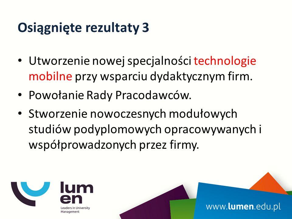 Osiągnięte rezultaty 3 Utworzenie nowej specjalności technologie mobilne przy wsparciu dydaktycznym firm.