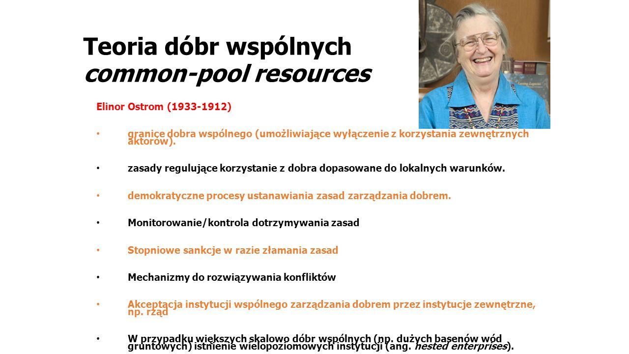 Teoria dóbr wspólnych common-pool resources Elinor Ostrom (1933-1912) granice dobra wspólnego (umożliwiające wyłączenie z korzystania zewnętrznych aktorów).