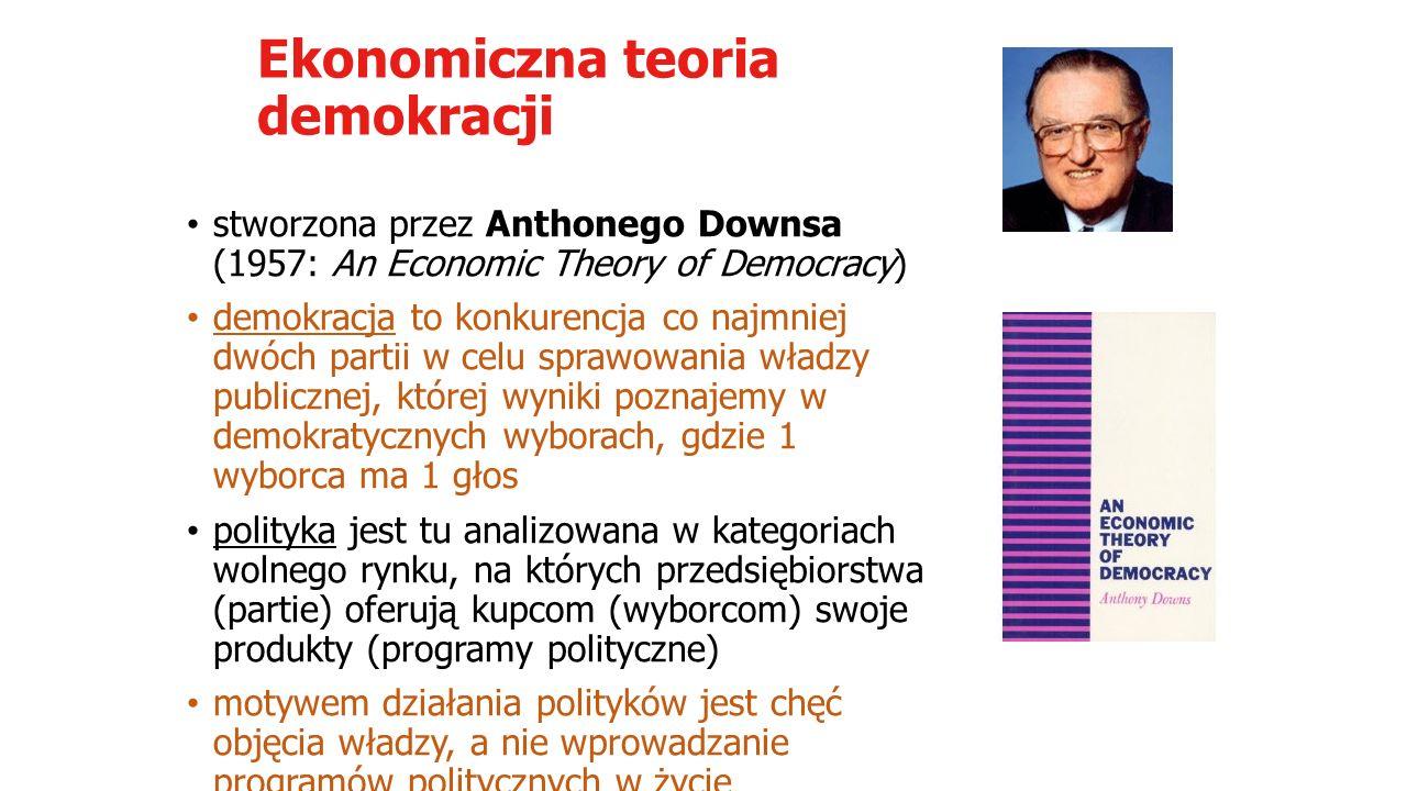"""Ekonomiczna teoria demokracji obywatel – racjonalny wyborca, tworzy bilans korzyści i koszów przed każdymi wyborami """"paradoks wyboru – polega na tym, że koszty związane z wyborami przewyższają spodziewane korzyści, tym bardziej, że zawsze istnieje niepewność wyników wnioski: warunkiem istnienia demokracji jest rozwinięty system konkurencji partii i obsadzanie stanowisk urzędniczych w zgodzie z preferencją wyrażoną w wynikach wyborów"""
