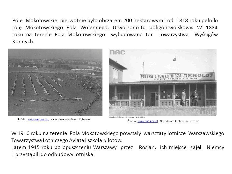 Pole Mokotowskie pierwotnie było obszarem 200 hektarowym i od 1818 roku pełniło rolę Mokotowskiego Pola Wojennego.