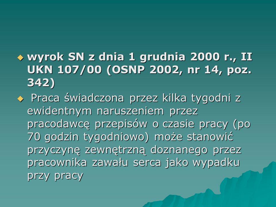  wyrok SN z dnia 1 grudnia 2000 r., II UKN 107/00 (OSNP 2002, nr 14, poz. 342)  Praca świadczona przez kilka tygodni z ewidentnym naruszeniem przez