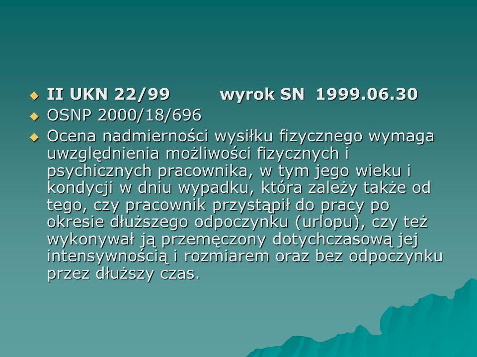 II UKN 22/99wyrok SN1999.06.30  OSNP 2000/18/696  Ocena nadmierności wysiłku fizycznego wymaga uwzględnienia możliwości fizycznych i psychicznych